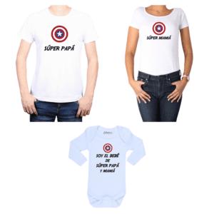Conjunto estilo Captain America Poleras y Body Calambur 100% algodón modelo Súper Papá Súper Mamá Súper Bebé