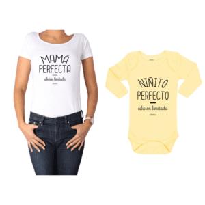 Conjunto Mamá Perfecta Niñito Perfecto Polera y Body Calambur 100% algodón modelo Mamá Bebé