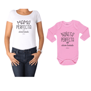 Conjunto Mamá Perfecta Niñita Perfecta Polera y Body Calambur 100% algodón modelo Mamá Bebé