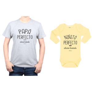 Conjunto Papá Perfecto Niñito Perfecto Polera y Body Calambur 100% algodón modelo Papá Bebé