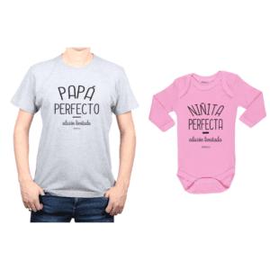 Conjunto Papá Perfecto Niñita Perfecta Polera y Body Calambur 100% algodón modelo Papá Bebé