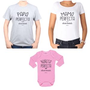 Conjunto Papá Perfecto Mamá Perfecta Niñita Perfecta Polera y Body Calambur 100% algodón modelo Papá Mamá Bebé