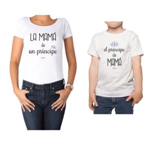 Conjunto Mamá Niño Poleras 100% algodón Calambur diseño Príncipe de Mamá