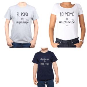 Conjunto Papá Mamá Niño Poleras 100% algodón Calambur diseño Príncipe de Papá y Mamá