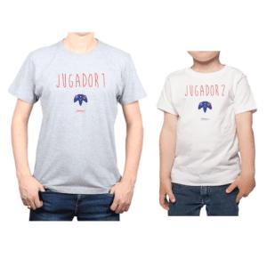 Conjunto Papá Niño Poleras 100% algodón Calambur diseño Jugador 1 & 2