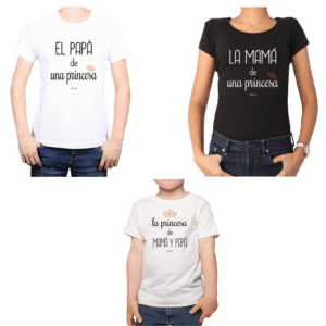 Conjunto Papá Mamá Niño Poleras 100% algodón Calambur diseño Princesa de Mamá y Papá