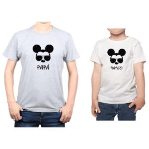Conjunto Papá Niño Poleras 100% algodón Calambur diseño Mickey