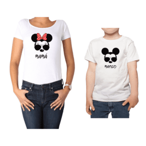 Conjunto Mamá Niño Poleras 100% algodón Calambur diseño Minnie Mickey