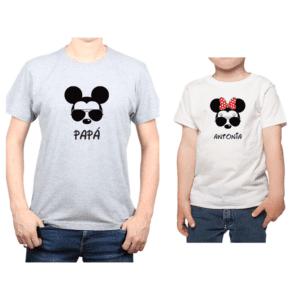 Conjunto Papá Niño Poleras 100% algodón Calambur diseño Mickey Minnie