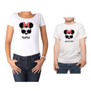 Conjunto Mamá Niño Poleras 100% algodón Calambur diseño Minnie Minnie