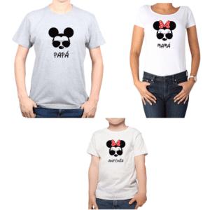 Conjunto Papá Mamá Niño Poleras 100% algodón Calambur diseño Mickey Minnie