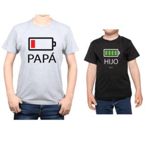 Conjunto Papá Niño Poleras 100% algodón Calambur diseño Batería