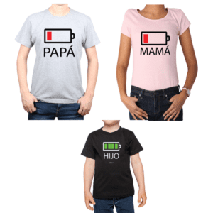 Conjunto Papá Mamá Niño Poleras 100% algodón Calambur diseño Batería