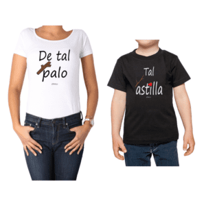 Conjunto Mamá Niño Poleras 100% algodón Calambur diseño Tal Palo Tal Astilla