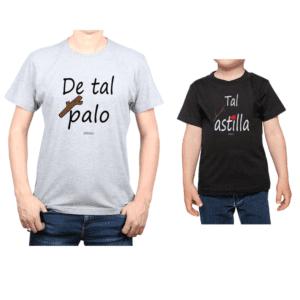 Conjunto Papá Niño Poleras 100% algodón Calambur diseño Tal Palo Tal Astilla