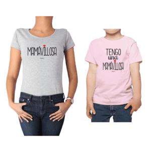 Conjunto Mamá Niño Poleras 100% algodón Calambur diseño Mamávillosa