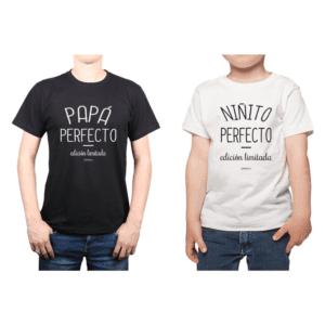 Conjunto Papa Niño 100% algodón Calambur diseño Papá Perfecto Niñito Perfecto