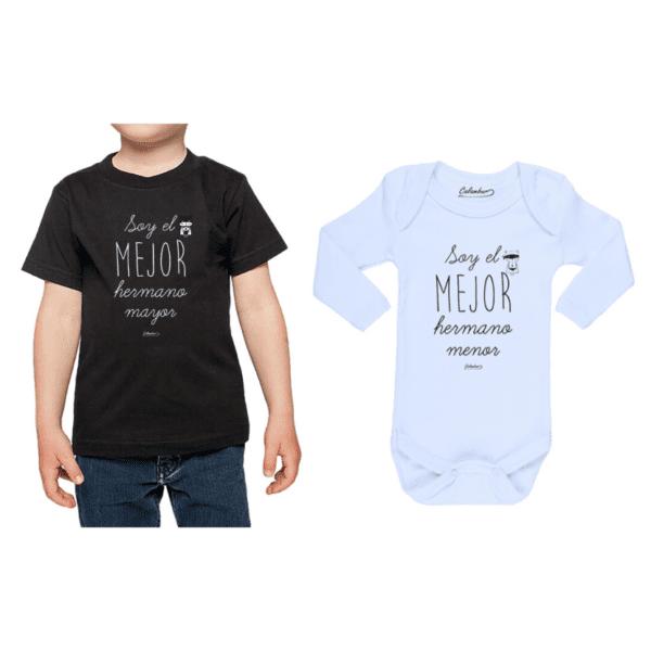 Conjunto Hermanos Polera y Body 100% algodón Calambur diseño Hermano Mayor Hermano Menor