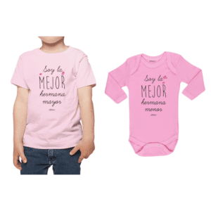 Conjunto Hermanas Polera y Body 100% algodón Calambur diseño Hermana Mayor Hermana Menor
