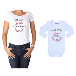 Conjunto Personalizado Si Mamá Dice no Calambur 100% algodón Polera Mujer Body Bebé
