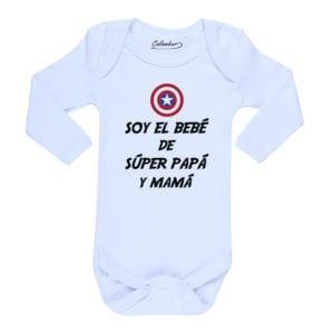 Body Bebé Calambur 100% algodón diseño Soy el Bebé de Súper Papá y Mamá
