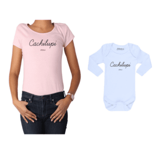 Conjunto Cachilupi Polera y Body Calambur 100% algodón modelo Mamá Bebé