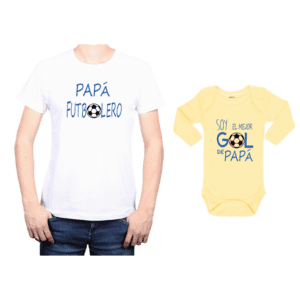 Conjunto estilo Papá Futbolero Polera y Body Calambur 100% algodón modelo Papá Futbolero