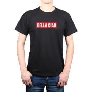 Polera Hombre Calambur 100% algodón diseño Bella Ciao Negro