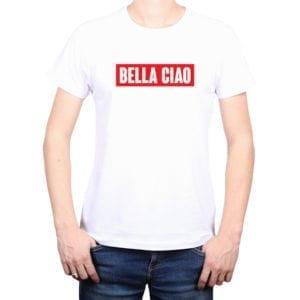 Polera Hombre Calambur 100% algodón diseño Bella Ciao Blanco