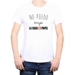 Polera Hombre Calambur 100% algodón diseño No Puedo Tengo La Casa De Papel Blanco