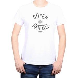 Polera Hombre Calambur 100% algodón diseño Súper Locatelli Blanco