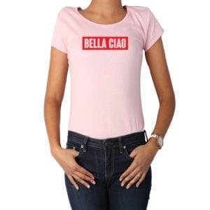 Polera Mujer Calambur 100% algodón diseño Bella Ciao rosado