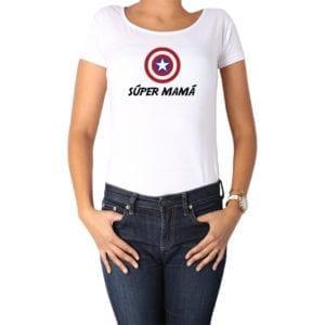 Polera Mujer Calambur 100% algodón diseño Súper Mamá blanco