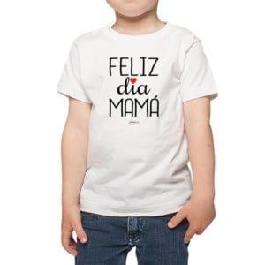 Polera Niños Calambur 100% algodón modelo Feliz Día Mamá blanco