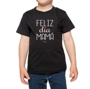 Polera Niños Calambur 100% algodón modelo Feliz Día Mamá negro