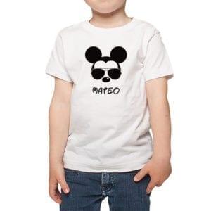 Polera Niños Calambur 100% algodón modelo Mickey blanco