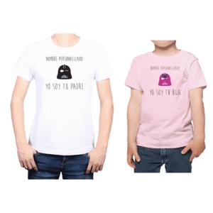 Conjunto Papá Niña Poleras 100% algodón Calambur diseño Star Wars personalizado