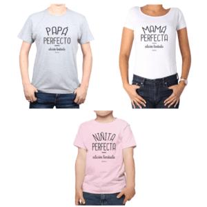 Conjunto Papá Mamá Niño Poleras 100% algodón Calambur diseño Niñita Perfecta