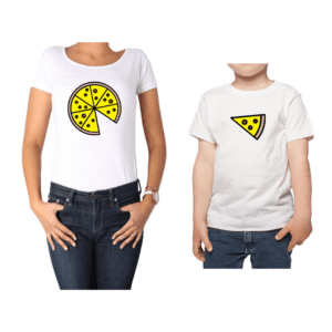 Conjunto Mamá Niño Poleras 100% algodón Calambur diseño Pizza