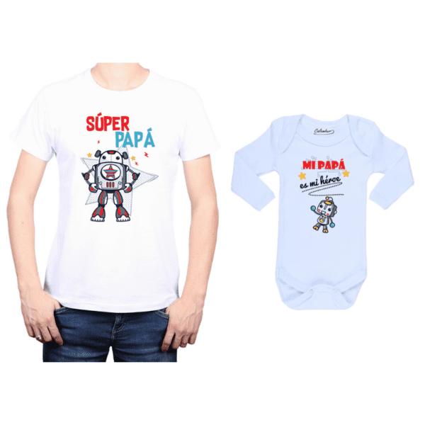 Conjunto Papá Bebé Polera y Body 100% algodón Calambur diseño Súper Papá mi héroe