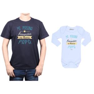 Conjunto Papá Bebé Polera y Body 100% algodón Calambur diseño Mi persona favorita me llama Papá