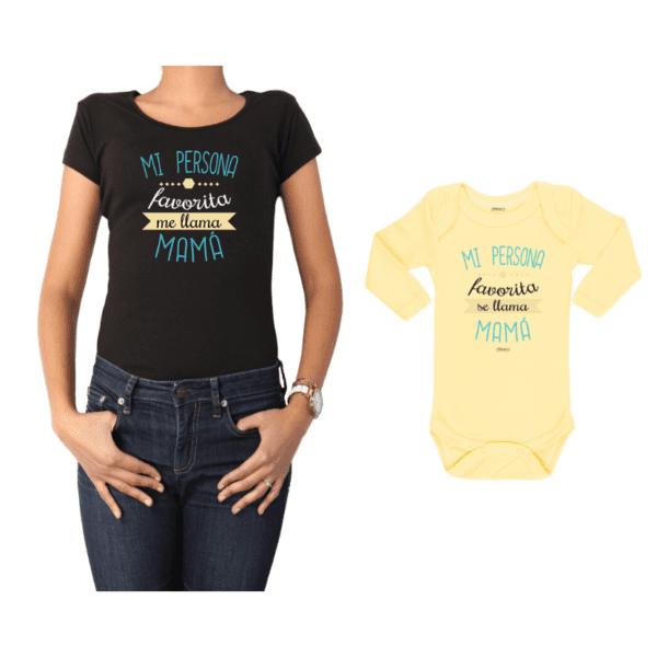 Conjunto Mamá Bebé Polera y Body 100% algodón Calambur diseño Mi persona favorita me llama Mamá
