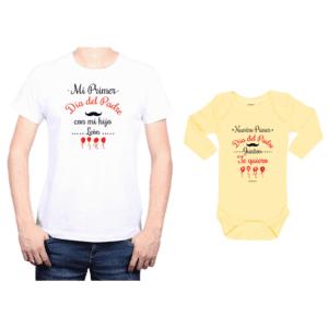 Conjunto Papá Bebé Polera y Body 100% algodón Calambur diseño Mi primer día del padre con mi hijo