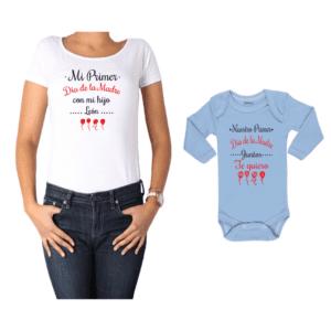 Conjunto Mamá Bebé Polera y Body 100% algodón Calambur diseño Mi primer día de la madre con mi hijo