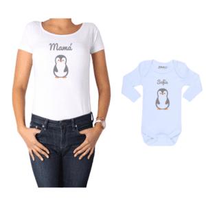 Conjunto Mamá Bebé Polera y Body 100% algodón Calambur diseño Pingüino