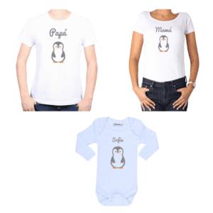 Conjunto Papá Mamá Bebé Poleras y Body 100% algodón Calambur diseño Pingüino
