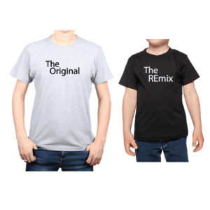 Conjunto Papá Niño Poleras 100% algodón Calambur diseño The Original The Remix
