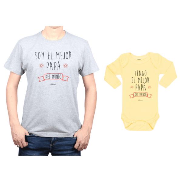 Conjunto Papá Bebé Polera y Body 100% algodón Calambur diseño Soy el mejor Papá del mundo
