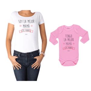 Conjunto Mamá Bebé Polera y Body 100% algodón Calambur diseño Soy la mejor Mamá del mundo