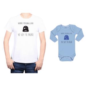 Conjunto Papá Hijo Polera y Body 100% algodón Calambur diseño Yo soy tu padre Personalizado